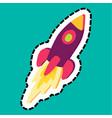 rocket stitched frame flat color sticker vector image
