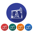 round icon of oil derrick flat style with long vector image