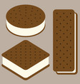 sandwich ice cream collection vector image vector image