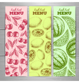 Set of vegetarian fresh fruit banners Fruit sketch vector image vector image