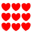 set red grunge art hearts for valentines day vector image