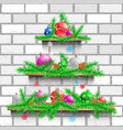 shelves christmas tree white brick vector image vector image