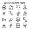 soccer training football club icon set in thin vector image