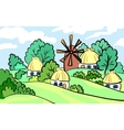 Summer landscape of the village on hill stands a vector image