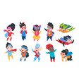 superhero kids cartoon boys and girls characters vector image vector image