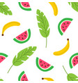 tropical fruits and leaves seamless pattern vector image vector image