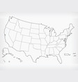 usa map united states blank outline doodle vector image