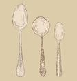Vintage hand drawn spoon set vector image vector image