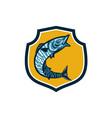 Wahoo Fish Jumping Shield Retro vector image vector image