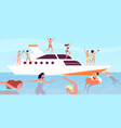 yacht cruise luxury men wine party on boat vector image