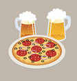 pizza and two draft beers in isometric 3d style vector image