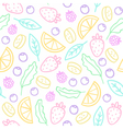 Doodle fruits berries leafs Seamless pattern vector image