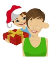 son giving to mother christmas gift vector image