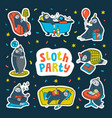 animal party lazy sloth party cute sloths having vector image