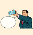asian businessman makes selfie vector image vector image