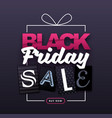 black friday sale banner with gift box silhouette vector image