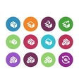 Box circle icons on white background vector image vector image