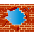 broken brick wall with hole and sky vector image vector image