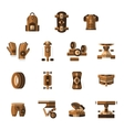 Brown flat icons for longboarder vector image vector image