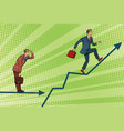 businessmen running chart growth and look forward vector image vector image