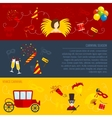 Carnival flat banners set vector image vector image