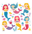 cartoon mermaids cute princess clipart mermaid vector image vector image
