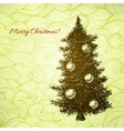 Christmas card with hand drawn fir tree vector image vector image