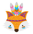 colorful cute fox head animal with feathers vector image vector image