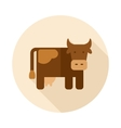 Cow flat icon with long shadow vector image