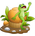 cute frog dancing with mushroom vector image vector image