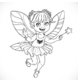 Cute little fairy girl with a Magic wand outlined vector image vector image