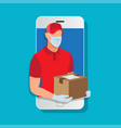 delivery man wearing a face mask and gloves vector image