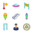flight aviation icons set cartoon style vector image vector image
