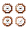 Four Type of Coffee Beverage in Retro Round Label vector image vector image