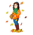 girl with autumn leaves vector image