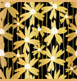 gold foil flowers on black seamless pattern vector image vector image