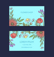 hand drawn flowers business card template vector image vector image