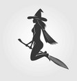 happy halloween witch on a broom - silhouette vector image vector image