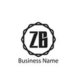 initial letter zb logo template design vector image