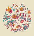 Meadow flower and leaf wreath isolated on beige vector image vector image