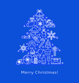 merry christmas banner template in line style vector image