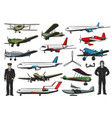 modern and old aircraft pilots in uniform vector image