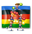Olympics flag and cheerleaders vector image vector image