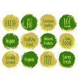 organic labels bio emblems for products packaging vector image