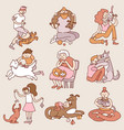people pets interaction set vector image vector image