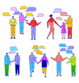 people talking flat line cartoon characters vector image vector image