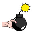 pop art hand with bomb cartoon vector image vector image