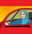 pop art muslim woman in car vector image vector image