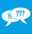 question and exclamation icon white vector image