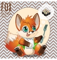 Red Fox dreaming about sushi vector image